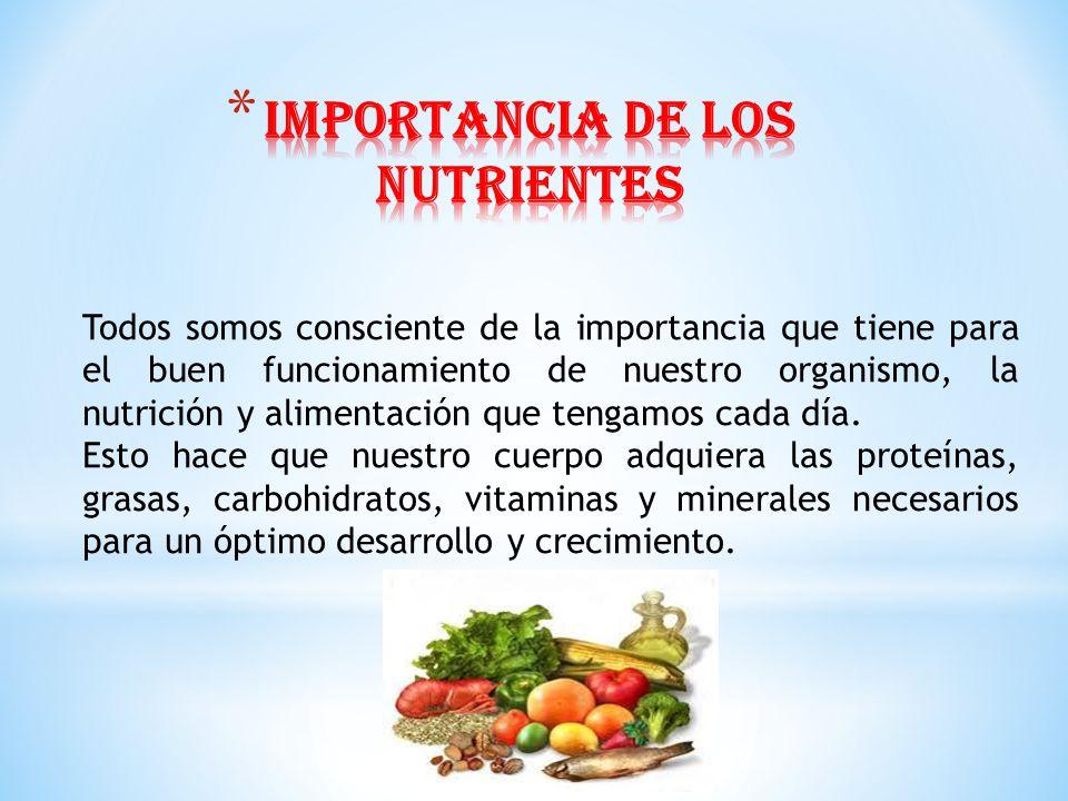 IMPORTANCIA DE LOS NUTRIENTES