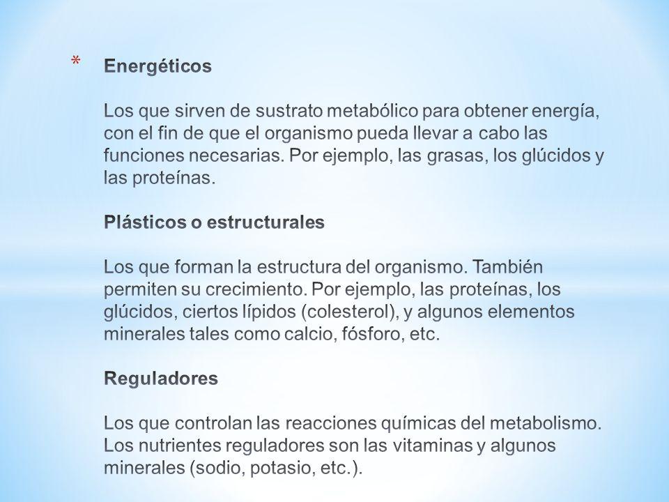 Energéticos Los que sirven de sustrato metabólico para obtener energía, con el fin de que el organismo pueda llevar a cabo las funciones necesarias.
