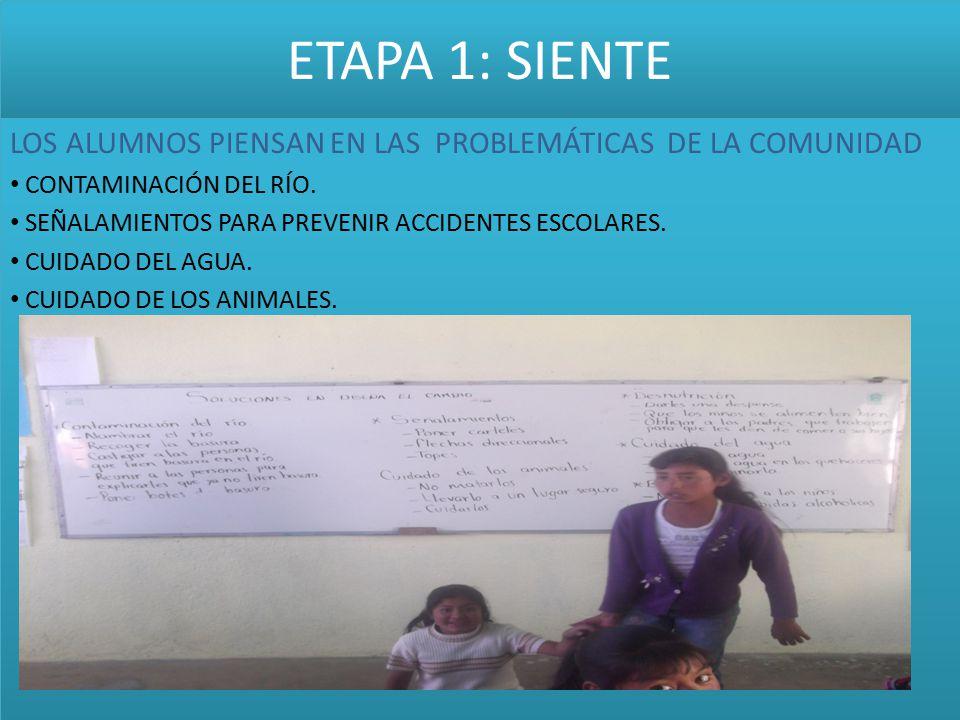 ETAPA 1: SIENTE LOS ALUMNOS PIENSAN EN LAS PROBLEMÁTICAS DE LA COMUNIDAD. CONTAMINACIÓN DEL RÍO.