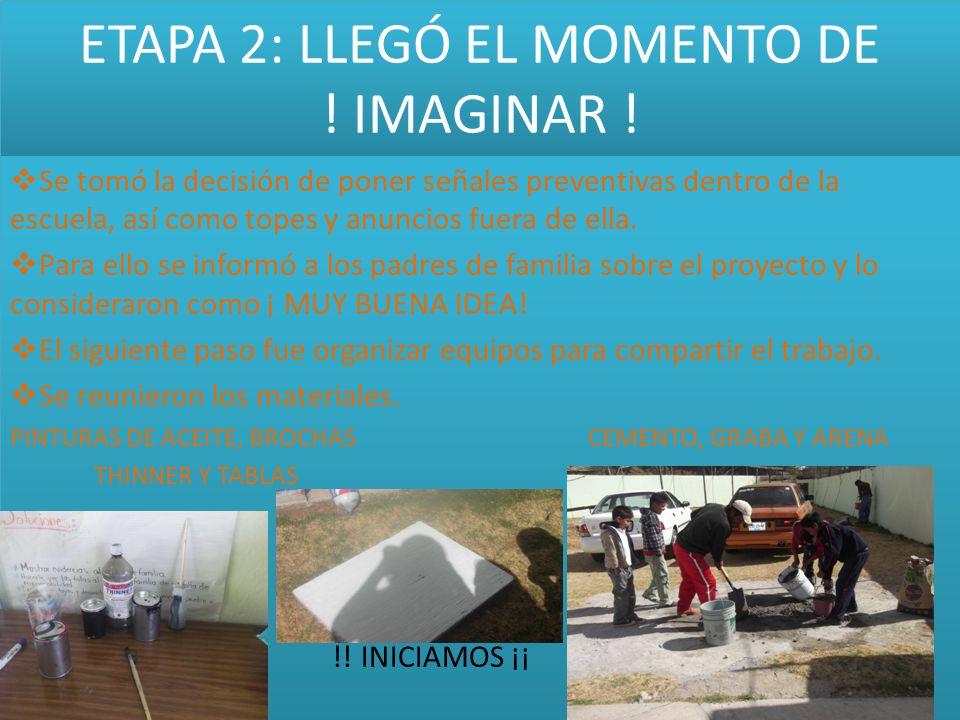 ETAPA 2: LLEGÓ EL MOMENTO DE ! IMAGINAR !