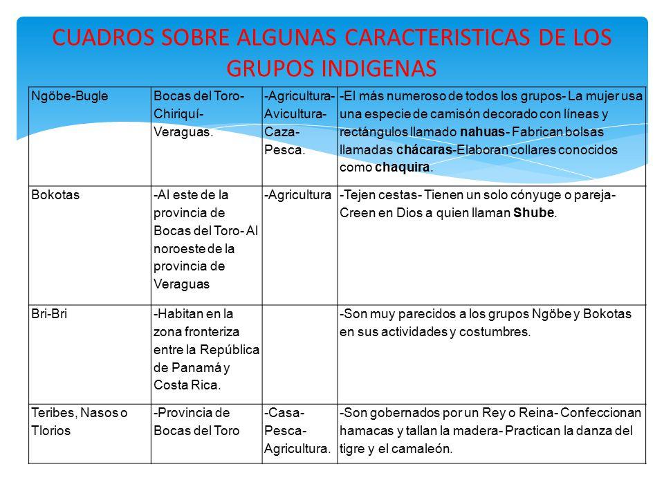 CUADROS SOBRE ALGUNAS CARACTERISTICAS DE LOS GRUPOS INDIGENAS