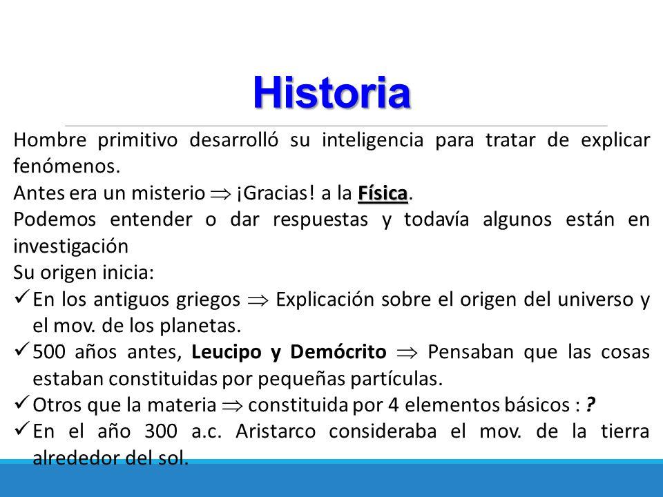 Historia Hombre primitivo desarrolló su inteligencia para tratar de explicar fenómenos. Antes era un misterio  ¡Gracias! a la Física.