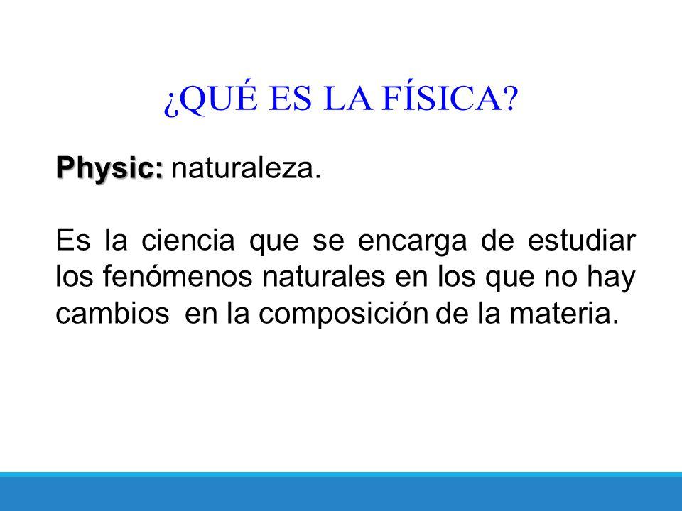 ¿QUÉ ES LA FÍSICA Physic: naturaleza.