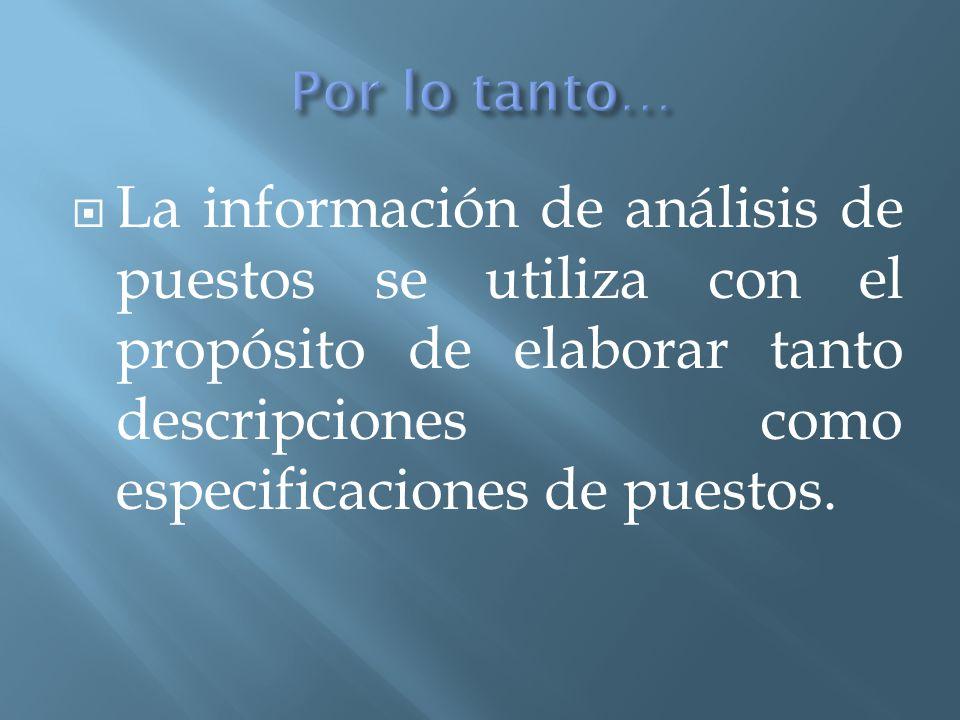 Por lo tanto… La información de análisis de puestos se utiliza con el propósito de elaborar tanto descripciones como especificaciones de puestos.