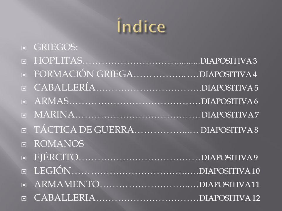 Índice GRIEGOS: HOPLITAS…………………………..........DIAPOSITIVA 3