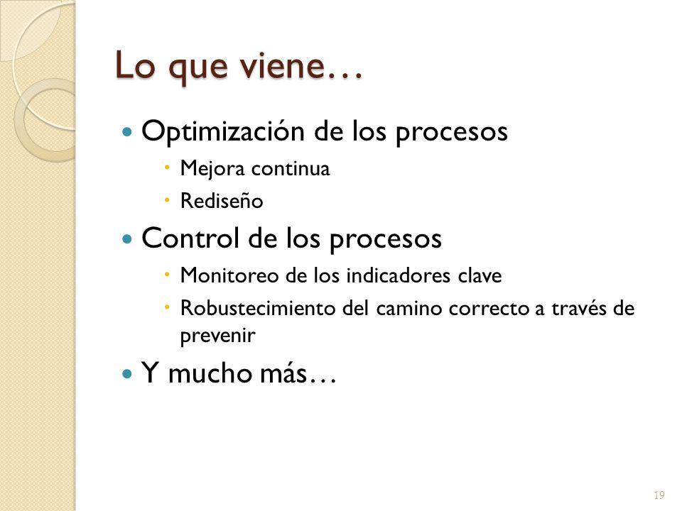 Lo que viene… Optimización de los procesos Control de los procesos