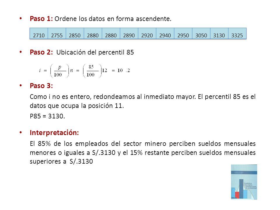 Paso 1: Ordene los datos en forma ascendente.