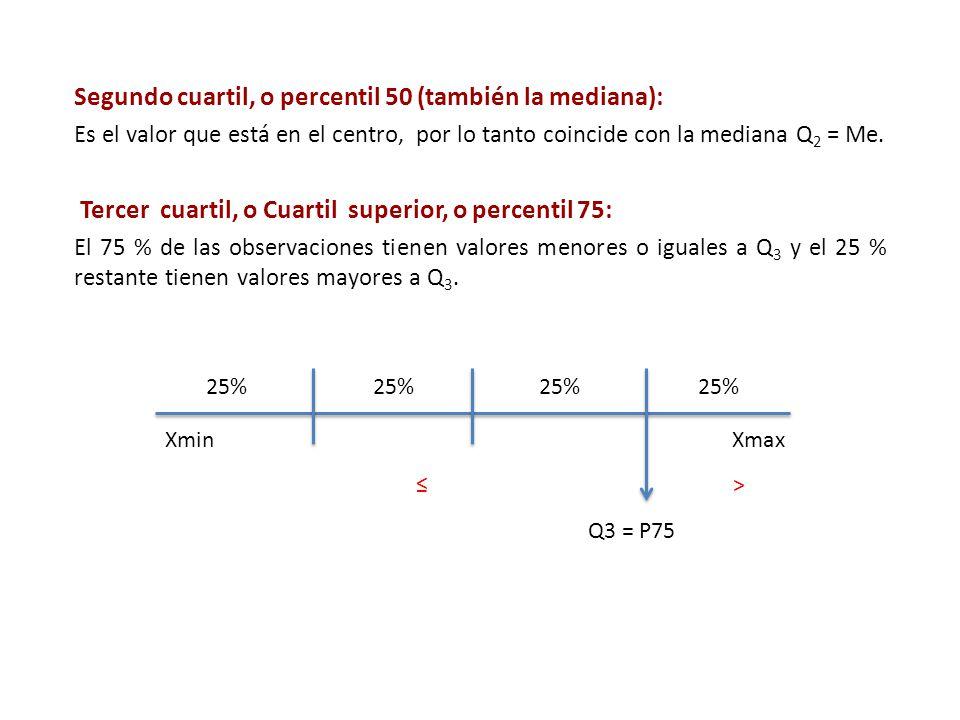 Segundo cuartil, o percentil 50 (también la mediana):