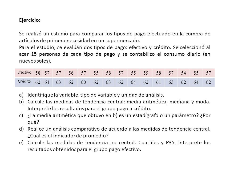 Identifique la variable, tipo de variable y unidad de análisis.