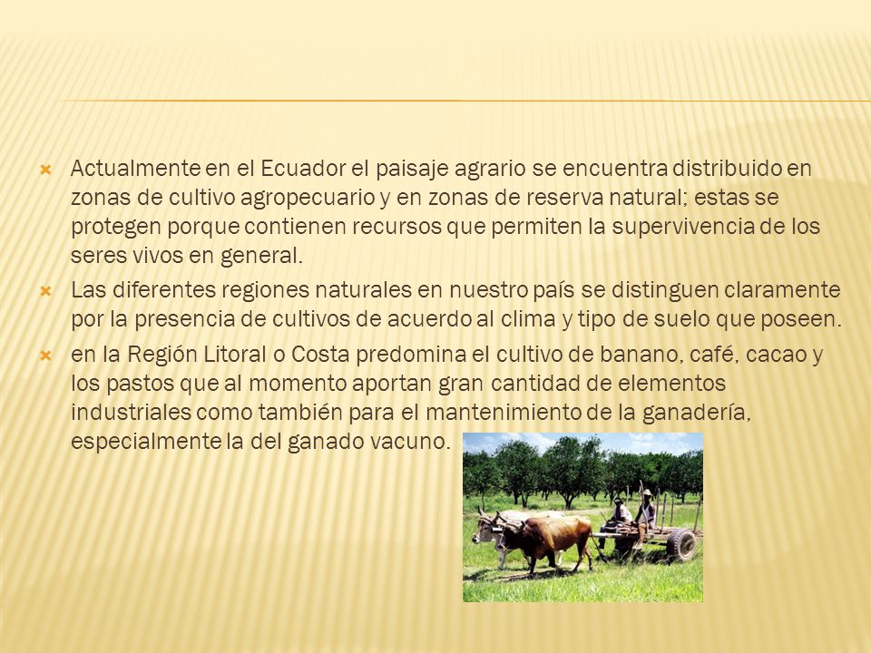 Actualmente en el Ecuador el paisaje agrario se encuentra distribuido en zonas de cultivo agropecuario y en zonas de reserva natural; estas se protegen porque contienen recursos que permiten la supervivencia de los seres vivos en general.