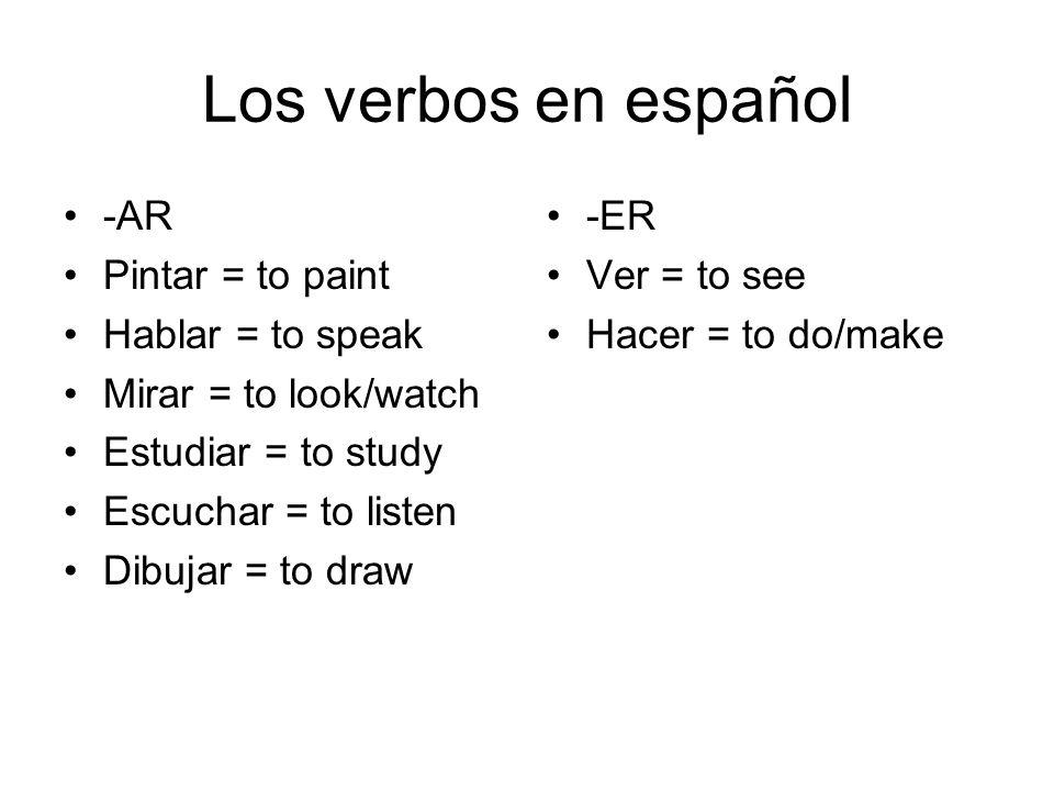 Los verbos en español -AR Pintar = to paint Hablar = to speak