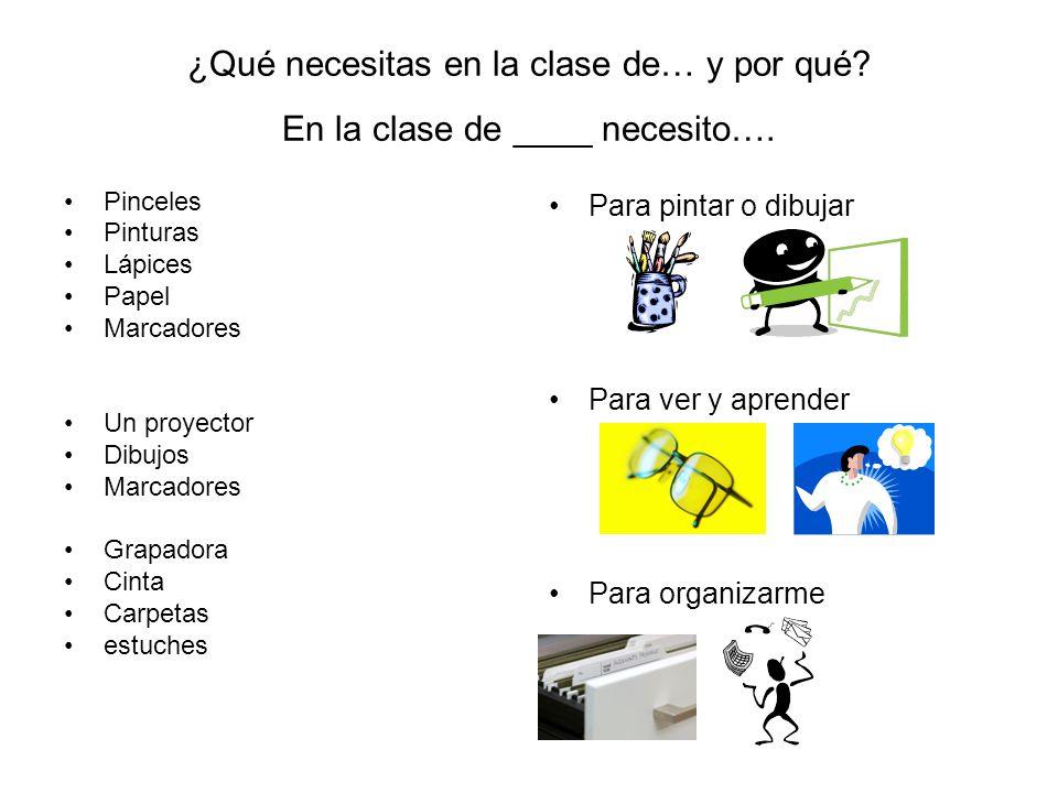 ¿Qué necesitas en la clase de… y por qué En la clase de ____ necesito….