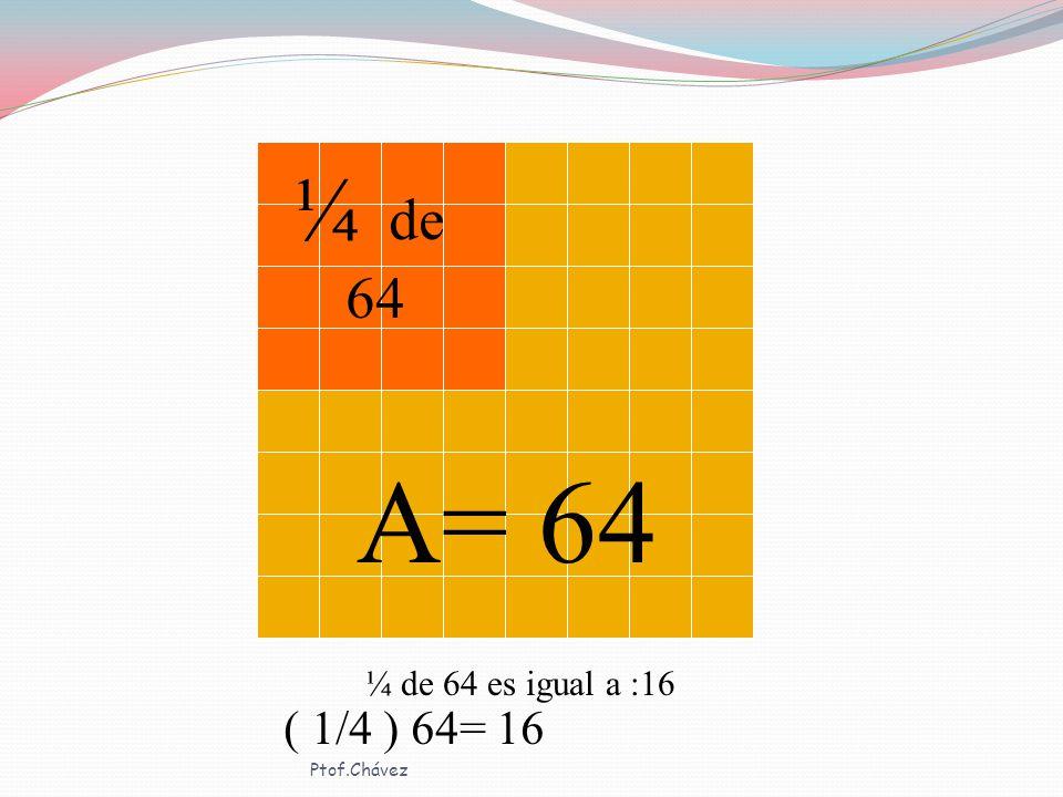 ¼ de 64 A= 64 ¼ de 64 es igual a :16 ( 1/4 ) 64= 16 Ptof.Chávez