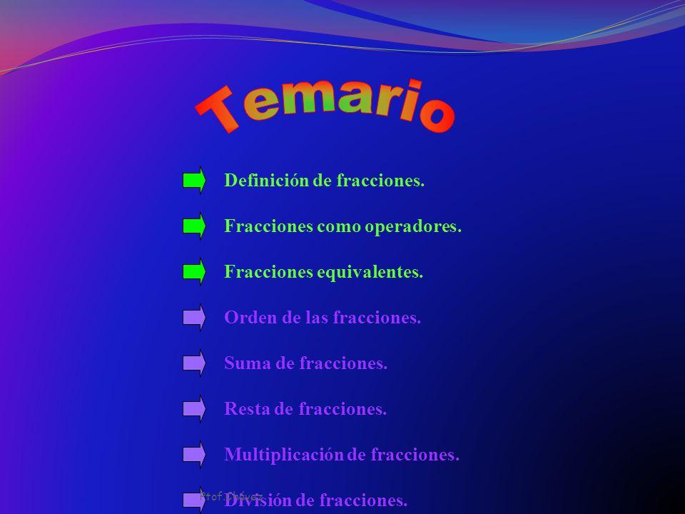 Temario Definición de fracciones. Fracciones como operadores.