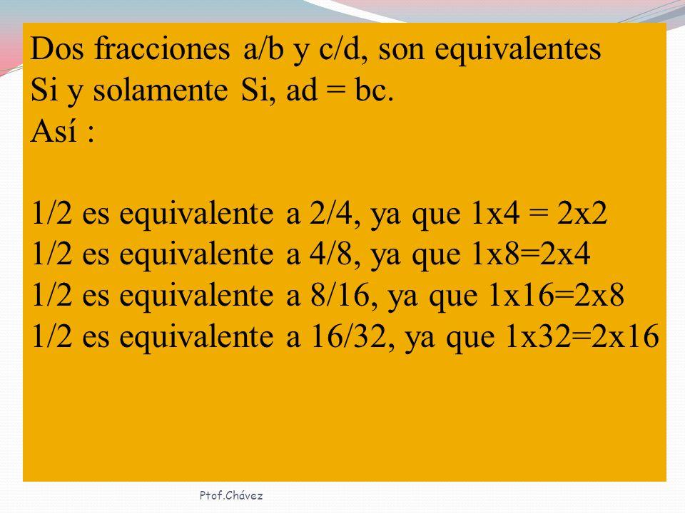 Dos fracciones a/b y c/d, son equivalentes Si y solamente Si, ad = bc.