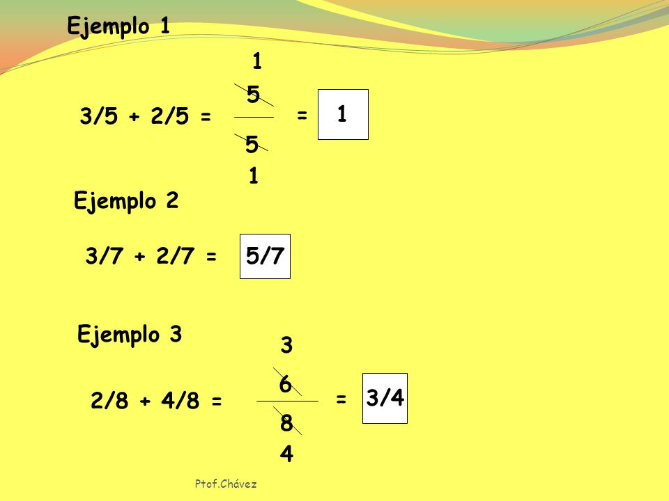 Ejemplo 1 1 3/5 + 2/5 = 1 = 5 Ejemplo 2 5/7 3/7 + 2/7 = Ejemplo 3 3 6