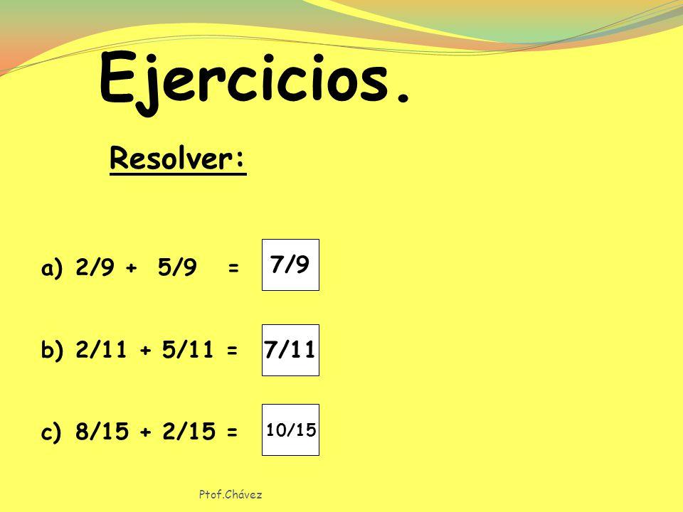 Ejercicios. Resolver: 7/9 2/9 + 5/9 = 2/11 + 5/11 = 8/15 + 2/15 = 7/11
