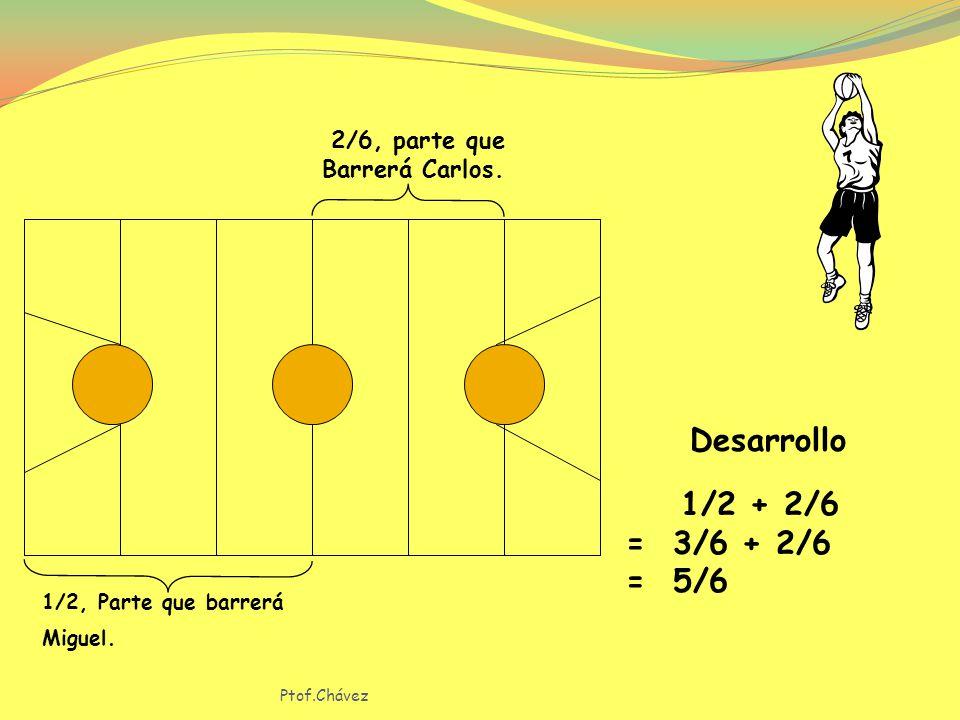 Desarrollo 1/2 + 2/6 = 3/6 + 2/6 = 5/6 2/6, parte que Barrerá Carlos.
