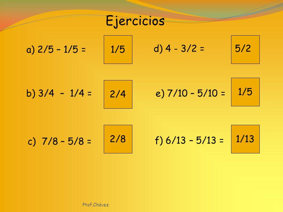 Ejercicios 1/5 a) 2/5 – 1/5 = d) 4 - 3/2 = 5/2 1/5 2/4 b) 3/4 – 1/4 =