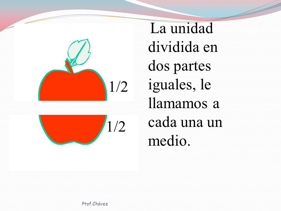 La unidad dividida en dos partes iguales, le llamamos a cada una un medio.
