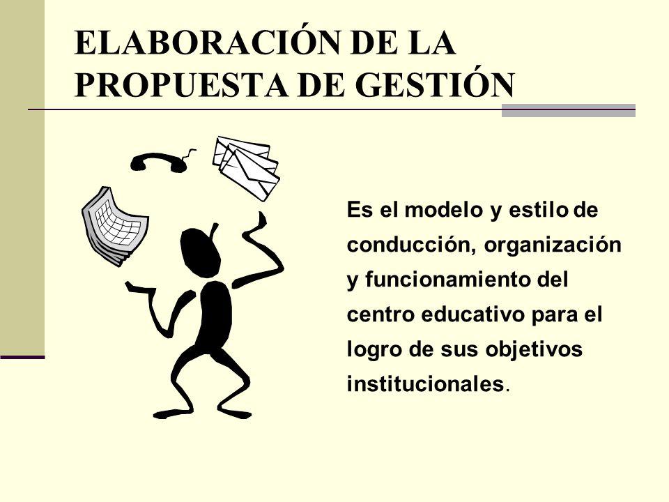 ELABORACIÓN DE LA PROPUESTA DE GESTIÓN