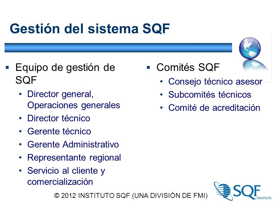 Gestión del sistema SQF
