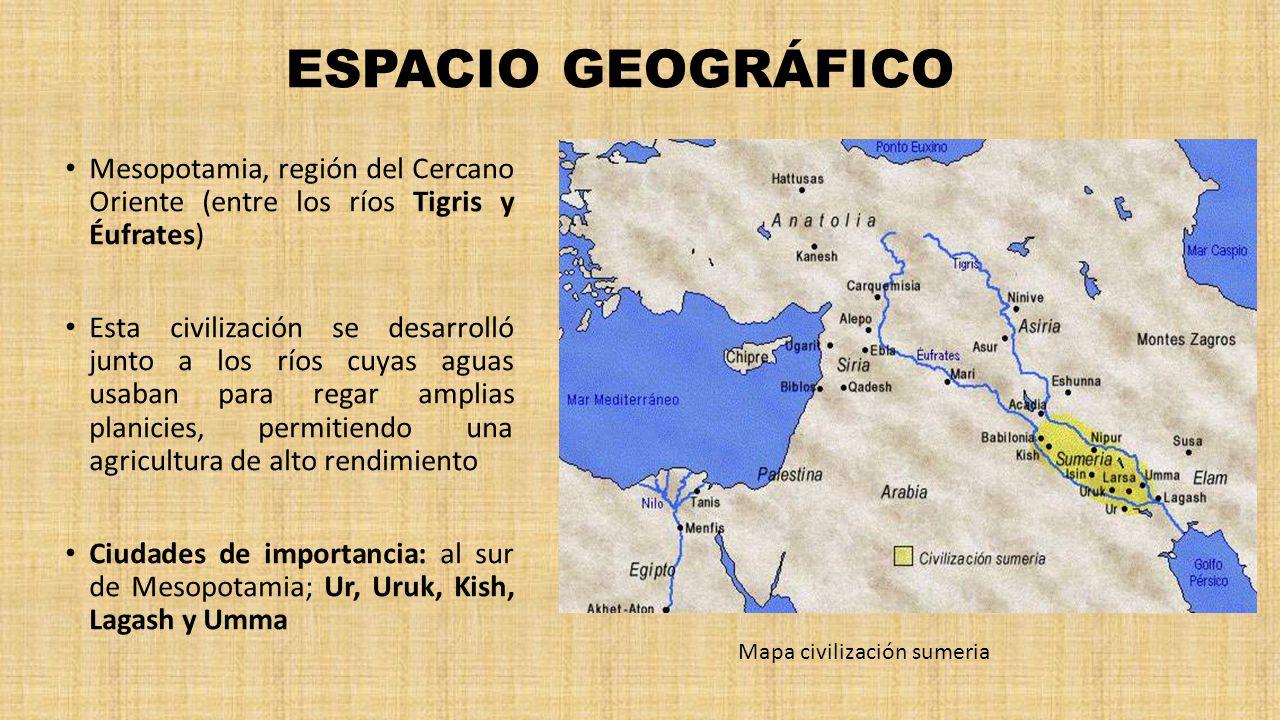 ESPACIO GEOGRÁFICO Mesopotamia, región del Cercano Oriente (entre los ríos Tigris y Éufrates)
