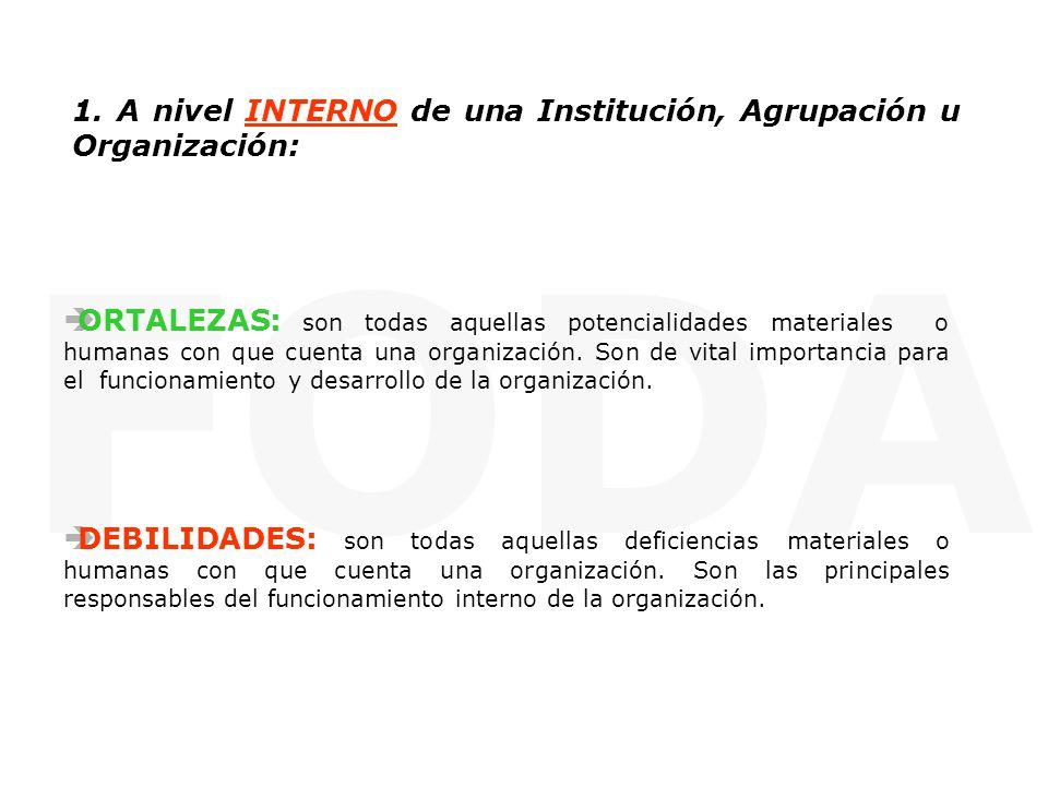 FODA 1. A nivel INTERNO de una Institución, Agrupación u Organización: