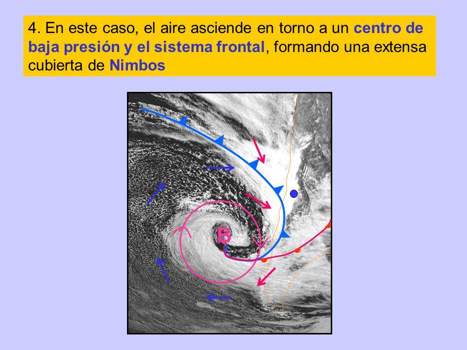 4. En este caso, el aire asciende en torno a un centro de baja presión y el sistema frontal, formando una extensa cubierta de Nimbos