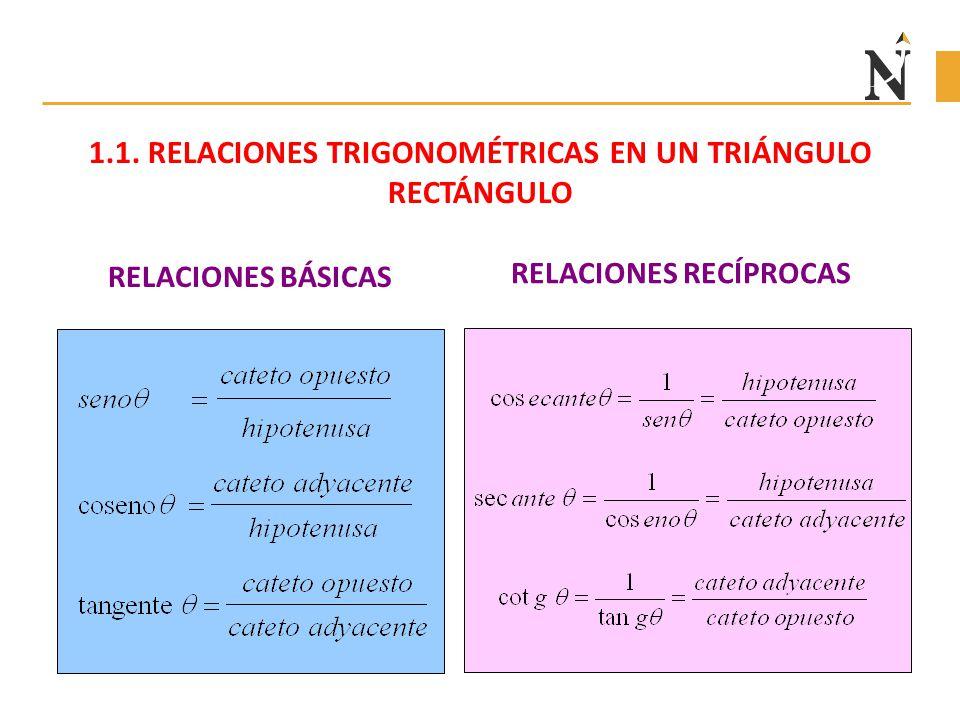 1.1. RELACIONES TRIGONOMÉTRICAS EN UN TRIÁNGULO RECTÁNGULO