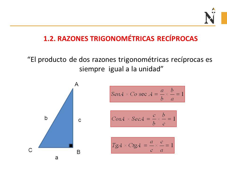 1.2. RAZONES TRIGONOMÉTRICAS RECÍPROCAS
