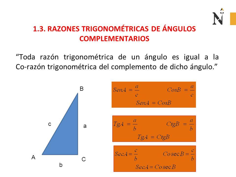 1.3. RAZONES TRIGONOMÉTRICAS DE ÁNGULOS COMPLEMENTARIOS