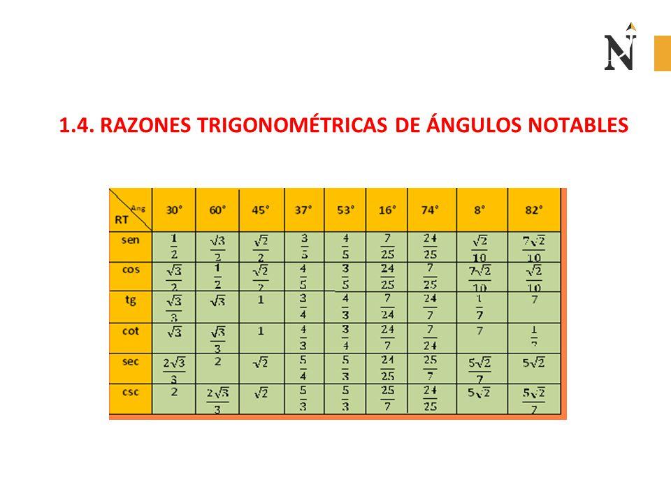 1.4. RAZONES TRIGONOMÉTRICAS DE ÁNGULOS NOTABLES