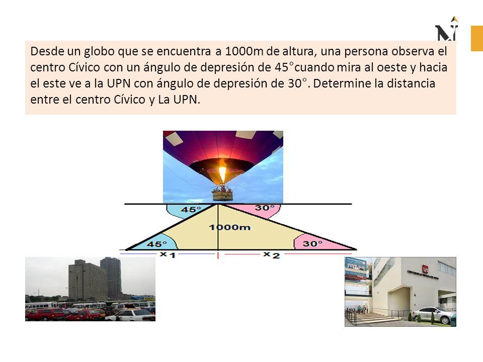 Desde un globo que se encuentra a 1000m de altura, una persona observa el centro Cívico con un ángulo de depresión de 45°cuando mira al oeste y hacia el este ve a la UPN con ángulo de depresión de 30°.