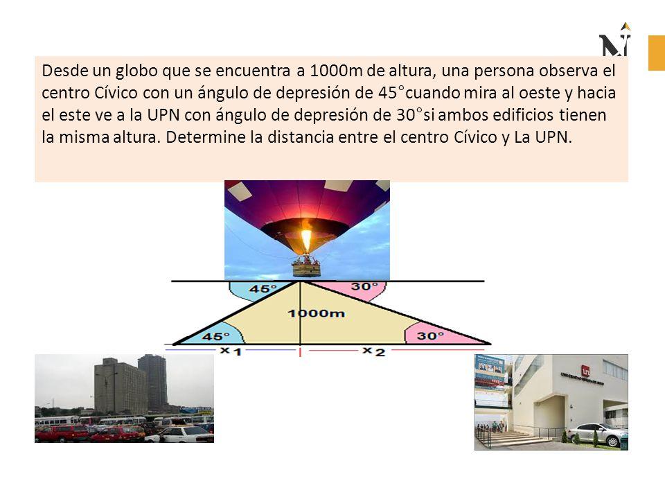 Desde un globo que se encuentra a 1000m de altura, una persona observa el centro Cívico con un ángulo de depresión de 45°cuando mira al oeste y hacia el este ve a la UPN con ángulo de depresión de 30°si ambos edificios tienen la misma altura.