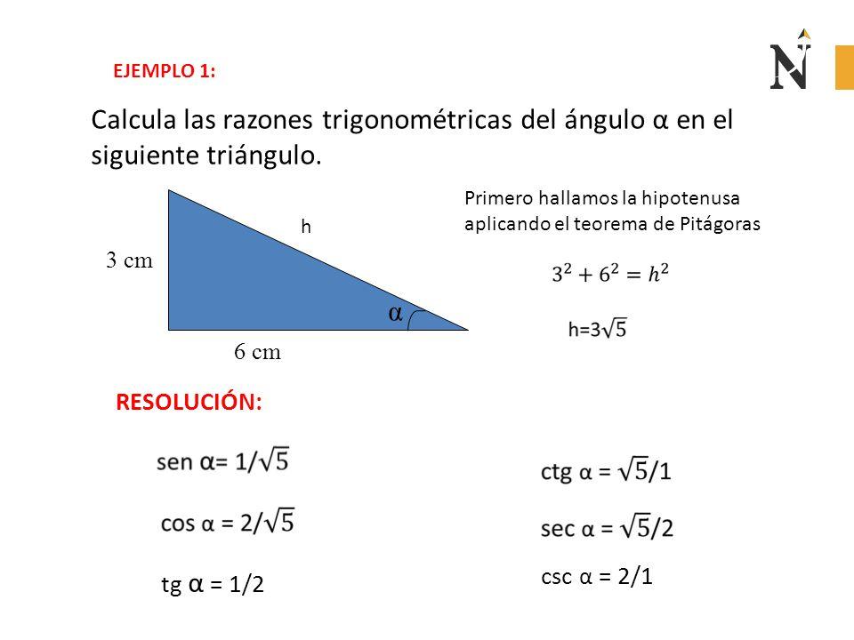 EJEMPLO 1: Calcula las razones trigonométricas del ángulo α en el siguiente triángulo.