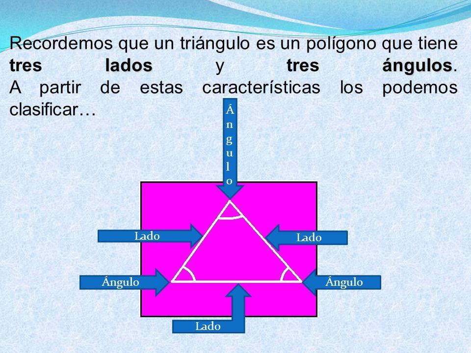 Recordemos que un triángulo es un polígono que tiene tres lados y tres ángulos. A partir de estas características los podemos clasificar…