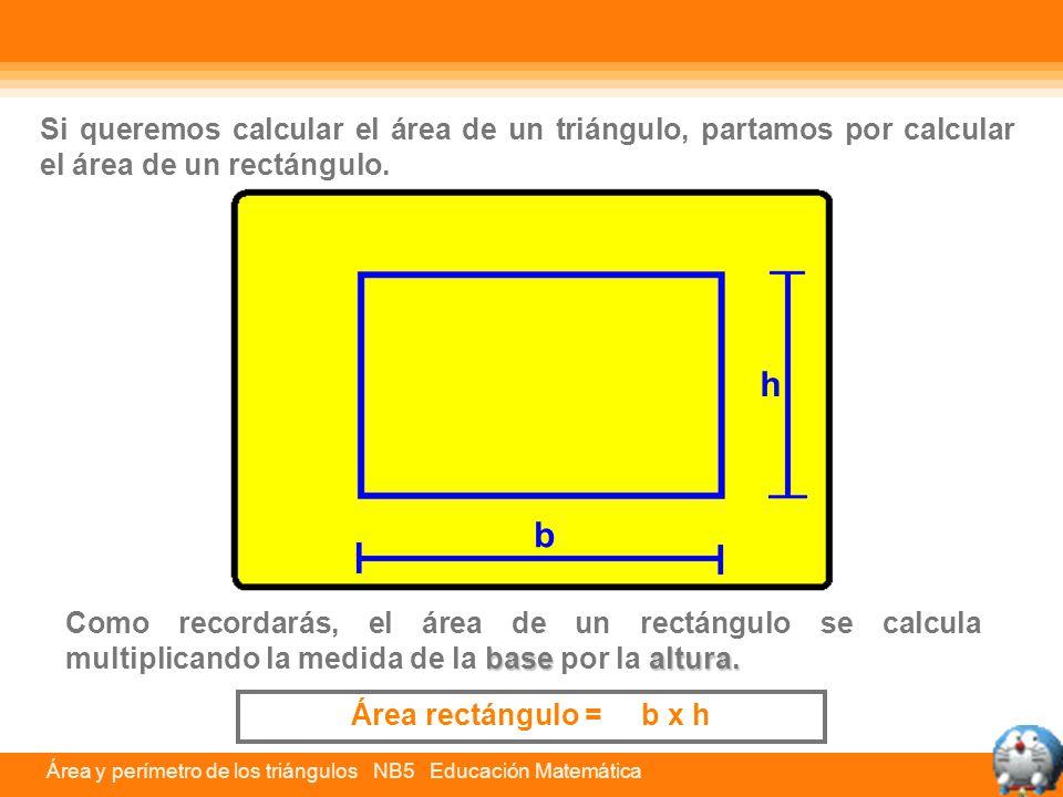 Si queremos calcular el área de un triángulo, partamos por calcular el área de un rectángulo.