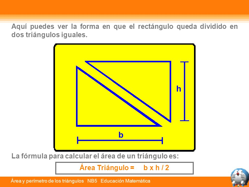 Aquí puedes ver la forma en que el rectángulo queda dividido en dos triángulos iguales.