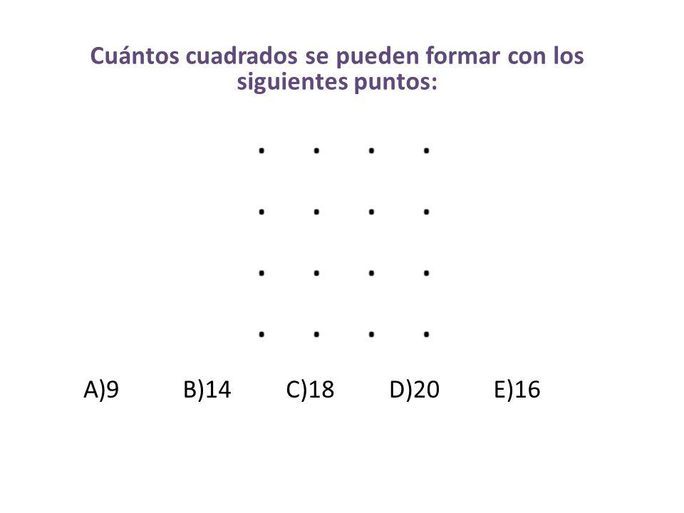 Cuántos cuadrados se pueden formar con los siguientes puntos:
