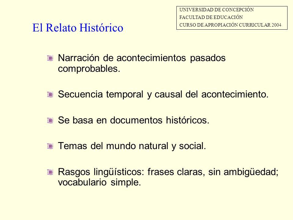 El Relato Histórico Narración de acontecimientos pasados comprobables.
