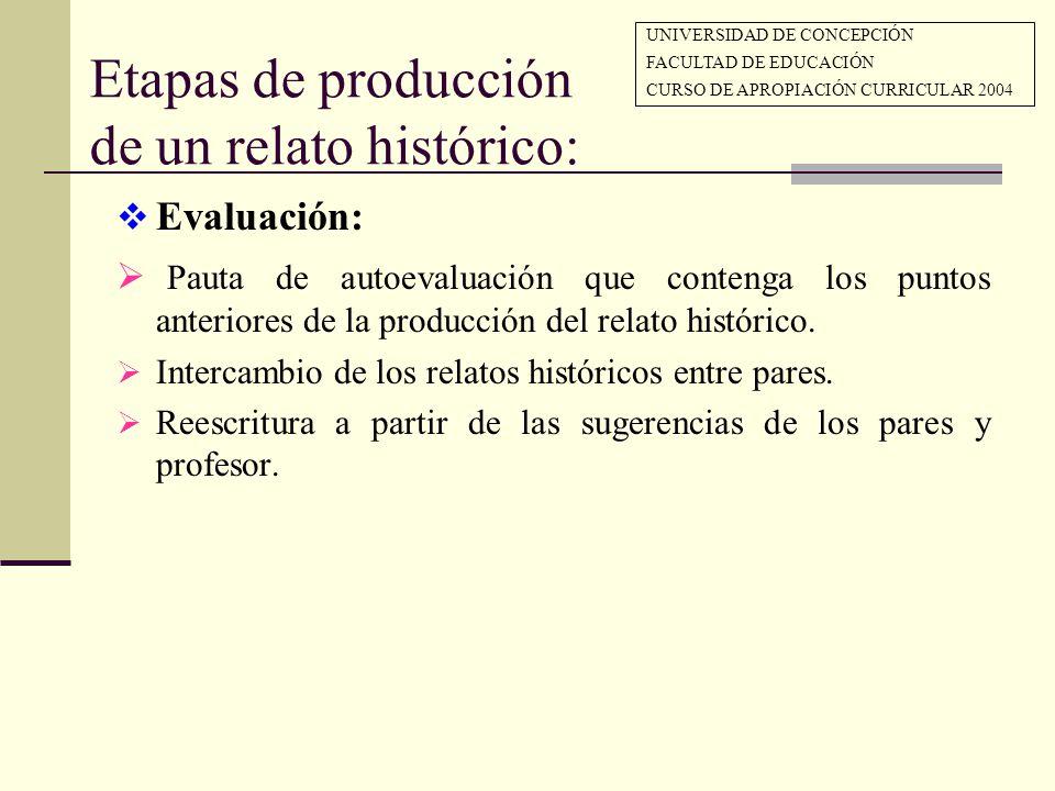 Etapas de producción de un relato histórico: