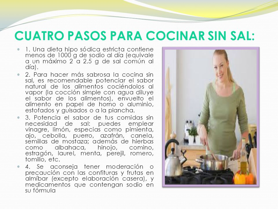 Dieta hipos dica nutrici n y diet tica ppt video online - Cocinar sin sal ...