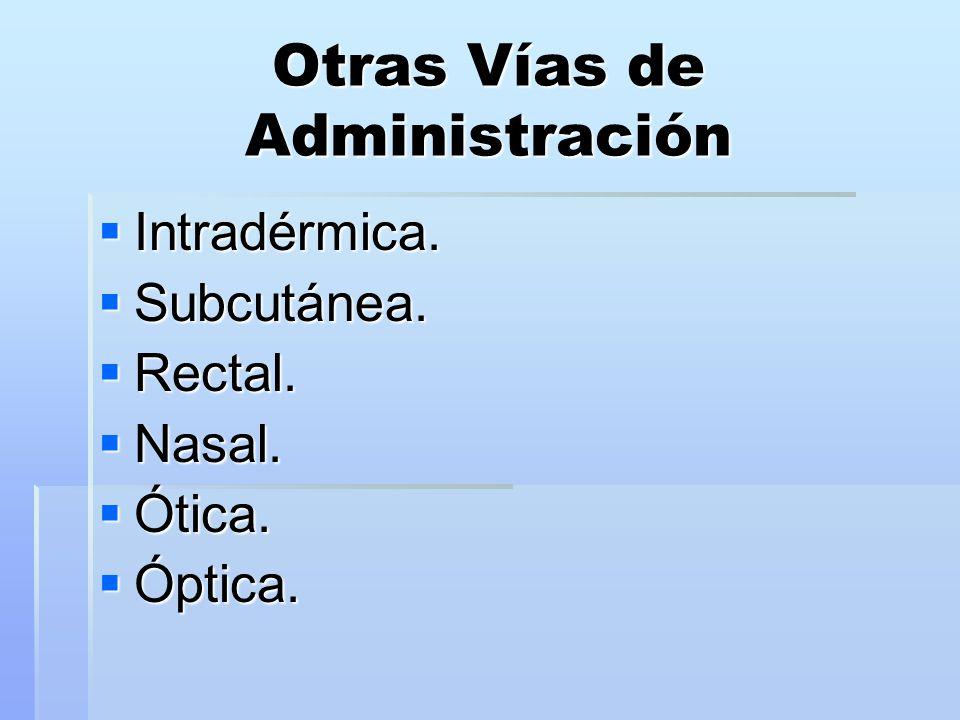 Otras Vías de Administración