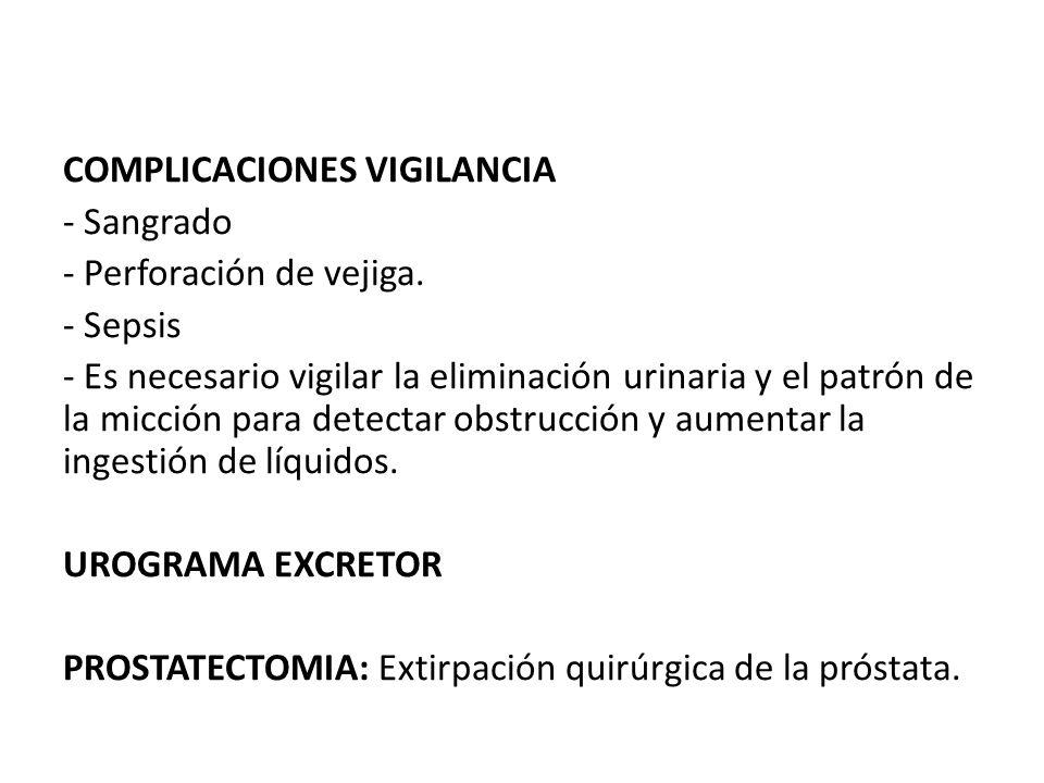 COMPLICACIONES VIGILANCIA - Sangrado - Perforación de vejiga