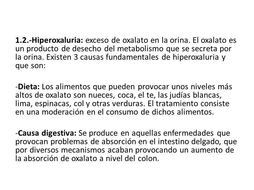 1. 2. -Hiperoxaluria: exceso de oxalato en la orina
