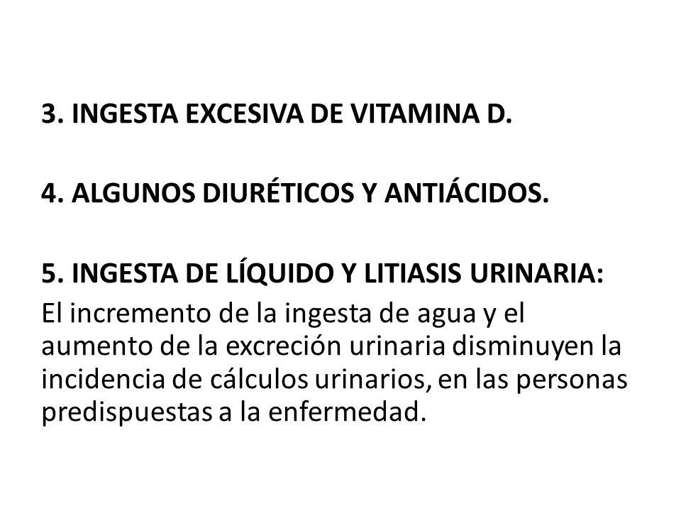 3. INGESTA EXCESIVA DE VITAMINA D. 4. ALGUNOS DIURÉTICOS Y ANTIÁCIDOS