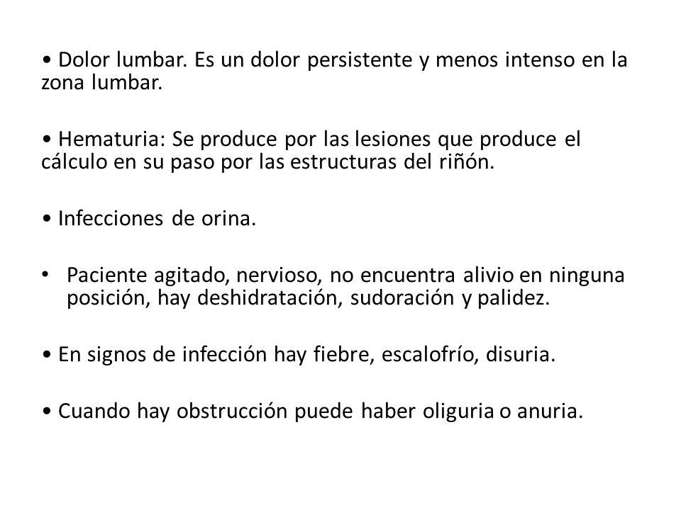 • Dolor lumbar. Es un dolor persistente y menos intenso en la zona lumbar.