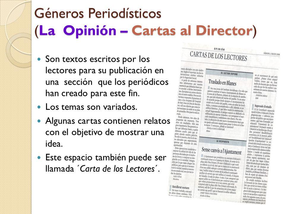 Géneros Periodísticos (La Opinión – Cartas al Director)