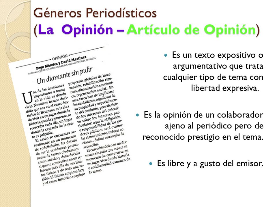 Géneros Periodísticos (La Opinión – Artículo de Opinión)